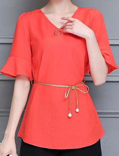 Damen Solide Einfach Lässig/Alltäglich Bluse,V-Ausschnitt Sommer Kurzarm Andere