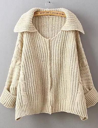 Damen Wolle Baumwolle Langarm Mantel / Capes - Solide Hemdkragen
