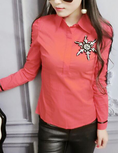 للمرأة قميص كاجوال - قطن طباعة قبعة القميص