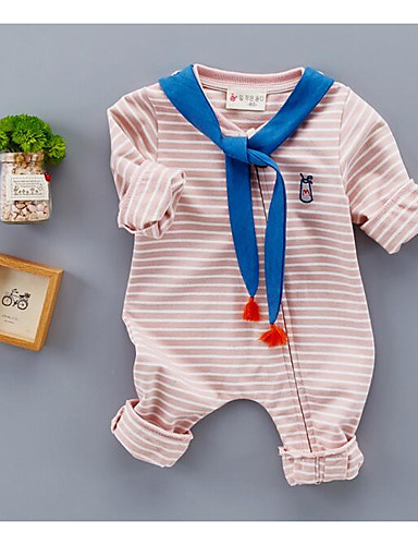 Baby Einzelteil Streifen Baumwolle Frühling/Herbst Langarm Blau Rosa Gelb