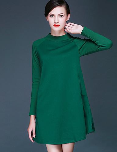Damen Strickware Kleid-Ausgehen Lässig/Alltäglich Übergröße Street Schick Solide Rundhalsausschnitt Übers Knie Langarm Polyester Elasthan