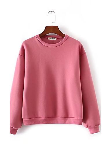 Damen Pullover Ausgehen Lässig/Alltäglich Einfach Niedlich Aktiv Solide Rundhalsausschnitt Mikro-elastisch Baumwolle Langärmelige Winter