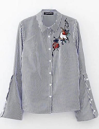 Damen Gestreift - Einfach Baumwolle Hemd, Hemdkragen