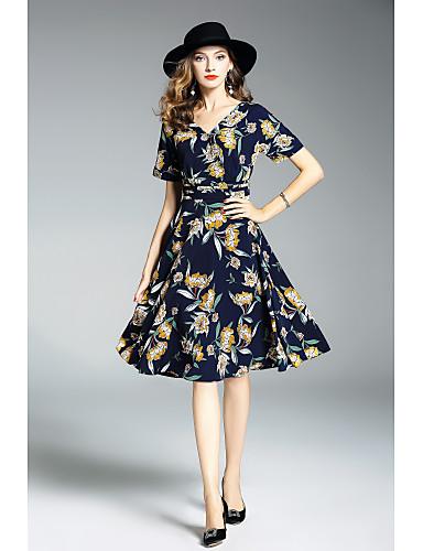 Damen Hülle Kleid Blumen Midi V-Ausschnitt