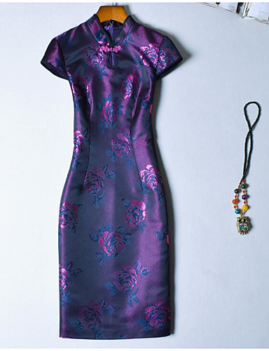 Damen Bodycon Kleid-Party Klub Retro Chinoiserie Blumen Ständer Übers Knie Kurzarm Baumwolle Frühling Sommer Hohe Hüfthöhe Mikro-elastisch