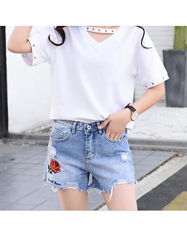 Damen Einfach Hohe Hüfthöhe Mikro-elastisch Kurze Hosen Lose Hose Solide
