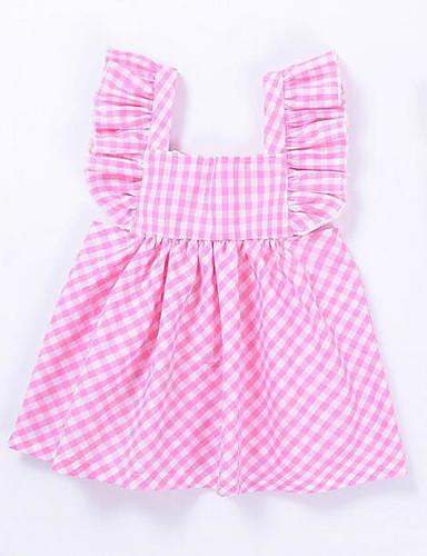 Mädchen Kleid Gestreift Einfarbig