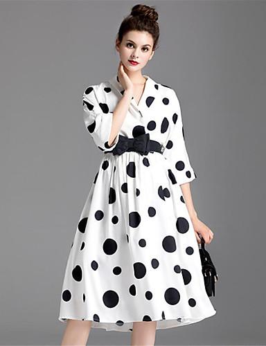 Damen Swing Kleid-Lässig/Alltäglich Einfach Punkt Hemdkragen Midi Halbe Ärmel Polyester Herbst Hohe Hüfthöhe Mikro-elastisch Mittel