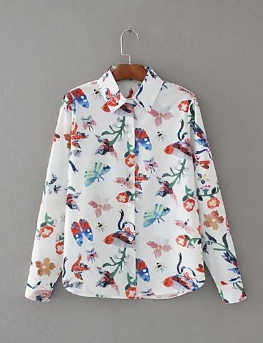 Damen Druck Einfach Niedlich Ausgehen Lässig/Alltäglich Hemd,Hemdkragen Sommer Herbst Langarm Seide Baumwolle Leinen Dünn Mittel