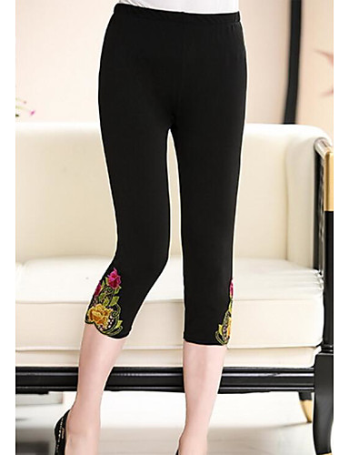 Damen Einfach Mittlere Hüfthöhe Kurze Hosen Skinny Hose Blumen