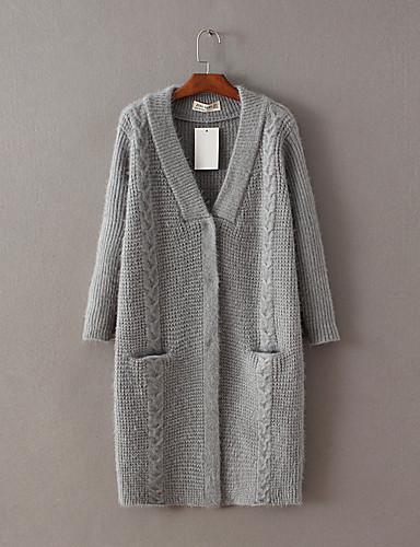 Damen Lang Strickjacke-Ausgehen Lässig/Alltäglich Einfach Solide Einfarbig V-Ausschnitt Langarm Wolle Baumwolle Frühling Herbst Dünn