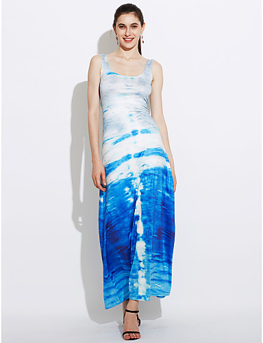 פוליאסטר / ספנדקס מקסי צווארון עגול דפוס שמלה נדן סקסי / בוהו נשים