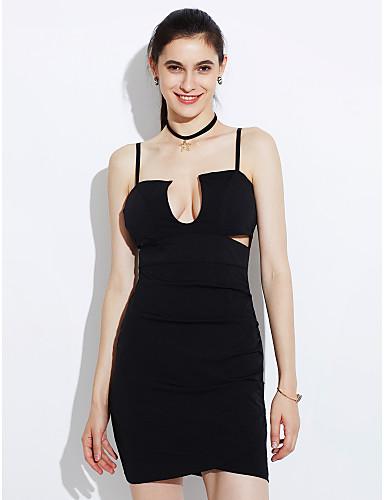 voordelige Sexy jurken-Dames Feest Club Bodycon Jurk - Effen, Blote rug Met ruches Bandje Mini