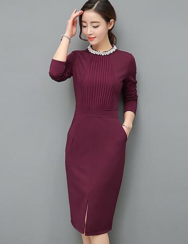 Damen Bodycon Kleid-Ausgehen Solide Rundhalsausschnitt Midi Langarm Polyester Frühling Mittlere Hüfthöhe Dehnbar Mittel