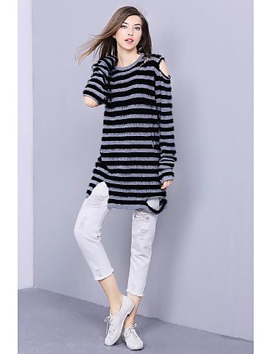 Damen Lang Pullover-Ausgehen Einfach Gestreift Rundhalsausschnitt Langarm Baumwolle Winter Mittel Mikro-elastisch