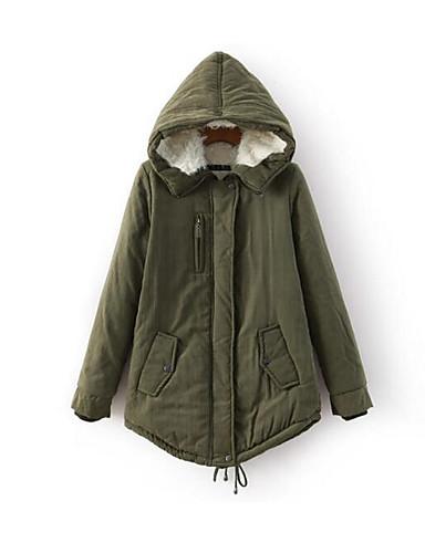 Damen Gefüttert Mantel Einfach Lässig/Alltäglich Solide-Baumwolle Baumwolle Langarm
