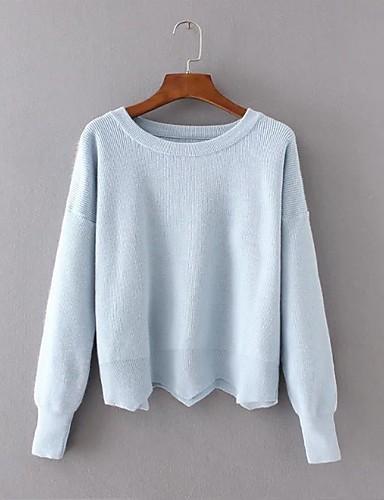 Damen Standard Pullover-Ausgehen Lässig/Alltäglich Einfach Solide Rundhalsausschnitt Langarm Wolle Baumwolle Polyester Frühling Herbst