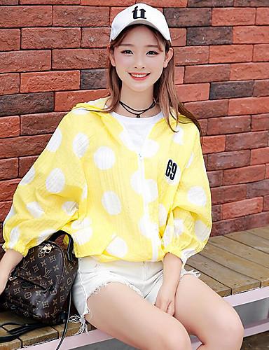 Damen Geometrisch Einfach Niedlich Lässig/Alltäglich Jacke,Mit Kapuze Sommer ¾ Ärmel Standard Polyester