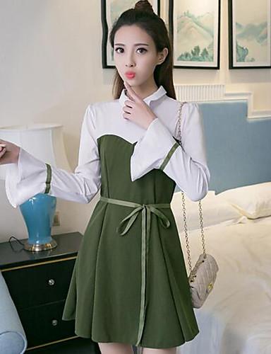 Damen Hülle Kleid-Lässig/Alltäglich Solide Hemdkragen Übers Knie Langarm Baumwolle Sommer Mittlere Hüfthöhe Mikro-elastisch Dünn