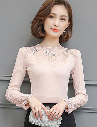 Damen Solide Einfach Lässig/Alltäglich T-shirt,Rundhalsausschnitt Langarm Polyester