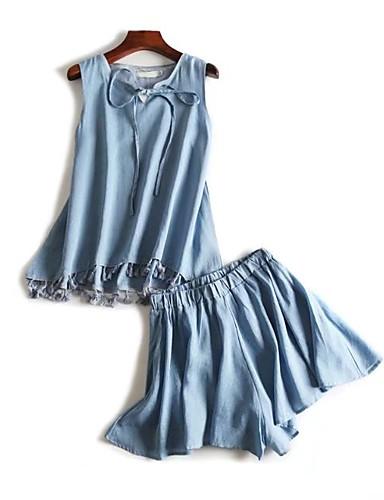 Damen Solide Einfach Niedlich Aktiv Ausgehen Lässig/Alltäglich Strand Shirt Rock Anzüge,Rundhalsausschnitt Frühling Sommer Ärmellos