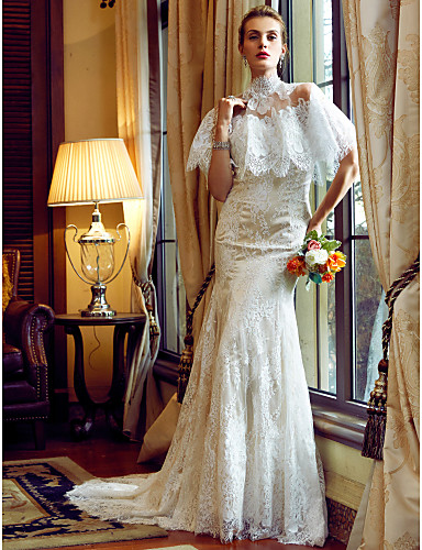 Mermaid / Trumpet Sweetheart Neckline Court Train All Over Lace Made-To-Measure Wedding Dresses with Appliques / Buttons by LAN TING