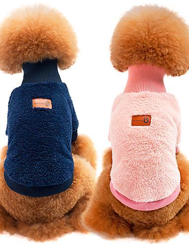 Недорогие Одежда для собак-Кошка   Собака Толстовка Одежда для собак  Однотонный Синий   Розовый f6278c7e8b329