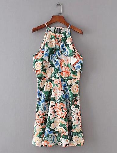 Damen Tunika Chiffon Kleid-Lässig/Alltäglich Solide Blumen Druck Halter Übers Knie Ärmellos Baumwolle Andere Sommer Mittlere Hüfthöhe