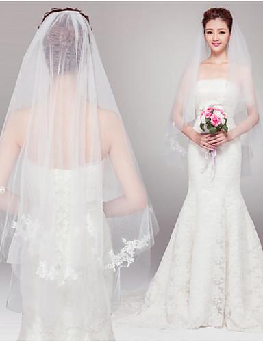 Zweischichtig Schnittkante Hochzeitsschleier Gesichts Schleier Ellbogenlange Schleier Mit Perle Tüll