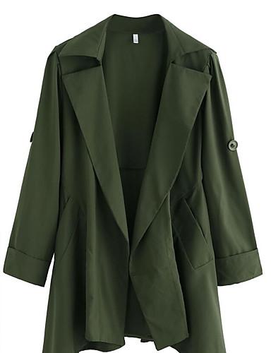 Damen Solide Street Schick Ausgehen Lässig/Alltäglich Trench Coat,Hemdkragen Frühling Lange Ärmel Lang Nylon
