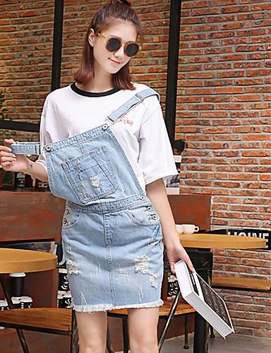 Damen Jeansstoff Kleid-Lässig/Alltäglich Solide Gurt Übers Knie Ärmellos Andere Sommer Herbst Mittlere Hüfthöhe Mikro-elastisch Mittel