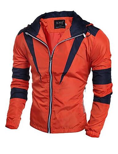 Herren Solide Einfarbig Einfach Lässig/Alltäglich Jacke,Mit Kapuze Herbst Lange Ärmel Standard Polyester