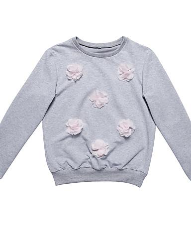 Damen Pullover Sport Solide Rundhalsausschnitt Mikro-elastisch Baumwolle Lange Ärmel Frühling Herbst