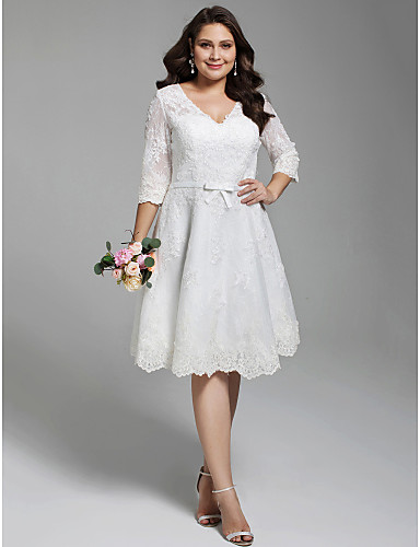 cheap Wedding Dresses-Plus Size A-Line V Neck Knee Length All Over Lace Made-To-Measure Wedding Dresses with Appliques / Bow(s) / Buttons by LAN TING BRIDE® / Little White Dress