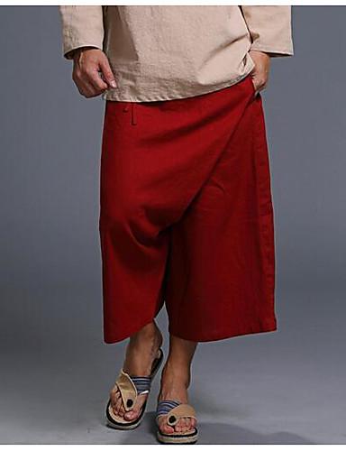 Herren Einfach Mittlere Hüfthöhe Mikro-elastisch Chinos Lose Hose Solide