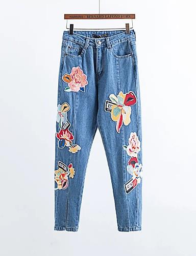 Damen Street Schick Mittlere Hüfthöhe Mikro-elastisch Schlank Jeans Hose,Andere Ganzjährig Druck
