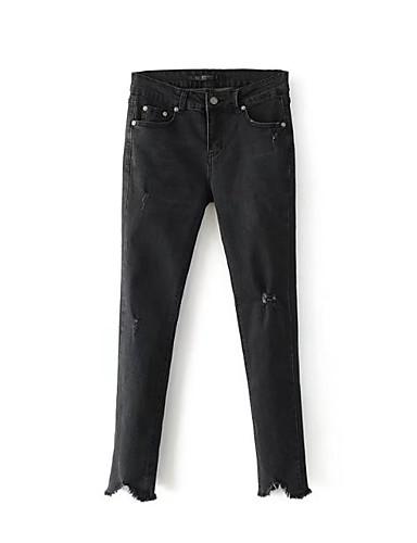 Damen Street Schick Hohe Hüfthöhe Mikro-elastisch Schlank Jeans Hose,Andere Ganzjährig Solide
