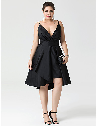 A-Line / Fit & Flare Plunging Neck Asymmetrical Taffeta Convertible Dress / Little Black Dress Cocktail Party / Prom Dress with Buttons / Pleats by TS Couture®