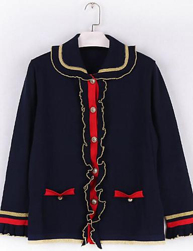 Damen Standard Strickjacke-Lässig/Alltäglich Einfach Geometrisch Rundhalsausschnitt Langarm Baumwolle Frühling Herbst Mittel