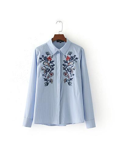 Damen Gestreift Einfach Street Schick Ausgehen Lässig/Alltäglich T-shirt,Hemdkragen Sommer Langarm Seide Baumwolle Dünn Mittel