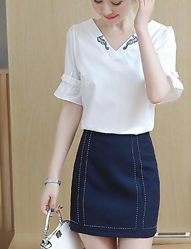 Damen Druck Einfach Lässig/Alltäglich T-Shirt-Ärmel Rock Anzüge,V-Ausschnitt Sommer Halbe Ärmel