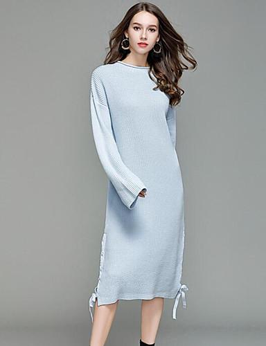 Damen Lang Pullover-Lässig/Alltäglich Solide Rundhalsausschnitt Langarm Acryl Frühling Mittel Mikro-elastisch