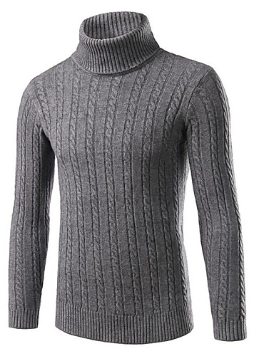 cheap Men's Sweaters & Cardigans-Men's Daily / Going out / Weekend Solid Colored Long Sleeve Slim Regular Pullover, Turtleneck Fall / Winter Black / Red / Gray XL / XXL / XXXL