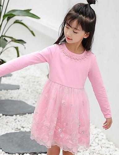 Mädchen Kleid einfarbig Baumwolle Polyester Frühling Herbst Lange Ärmel