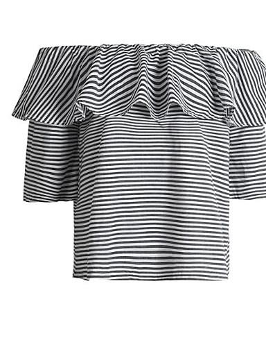 Damen Solide Gestreift Einfach Lässig/Alltäglich T-shirt,Schulterfrei Sommer 3/4 Ärmel Baumwolle