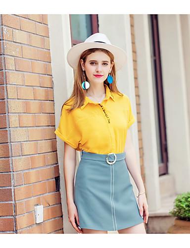 Damen Solide Einfach Niedlich Ausgehen Lässig/Alltäglich Bluse,Hemdkragen Frühling Sommer Kurzarm Polyester Mittel