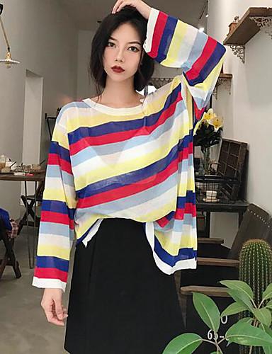 Damen Standard Pullover-Strand Gestreift Einfarbig Rundhalsausschnitt Langarm Andere Frühling Herbst Mittel Mikro-elastisch