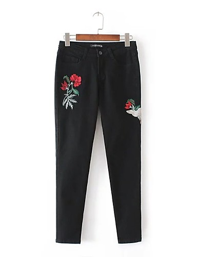 Damen Street Schick Mittlere Hüfthöhe Mikro-elastisch Eng Jeans Hose,Andere Ganzjährig Solide Stickerei