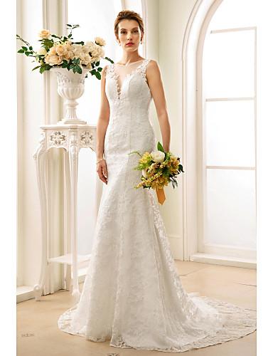 Sellő fazon Nyakkivágás Udvari uszály Csipke Made-to-measure esküvői ruhák val vel Rátétek / Gombok által LAN TING BRIDE® / Átlátszó