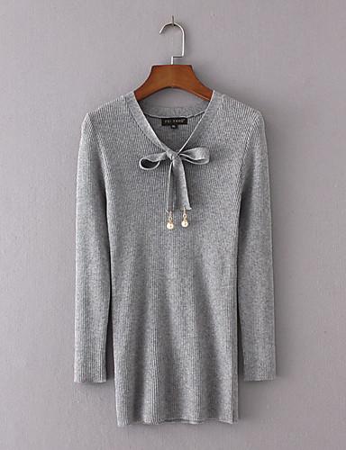 Damen Standard Pullover-Ausgehen Lässig/Alltäglich Einfach Street Schick Solide V-Ausschnitt Langarm Polyester Andere Winter Herbst Mittel